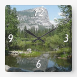 Mirror Lake View in Yosemite National Park Square Wall Clock