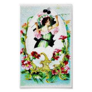 Mirror like a design, a girl found with flower sti posters