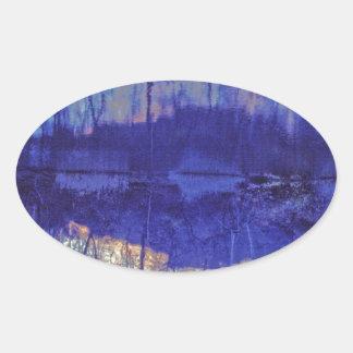 Mirror Pond in The Berkshires.jpg Oval Sticker