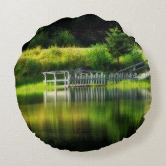 Mirror Pond Round Pillow