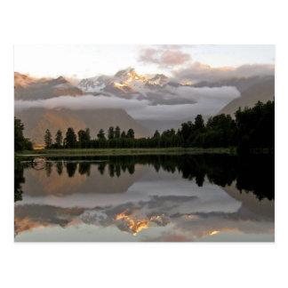 Mirror Reflection Lake Matheson New Zealand Postcard