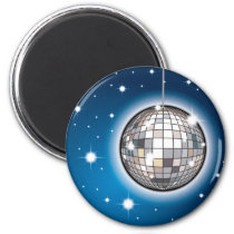 art, pop, music, club, disco, illustration, techno, house-music, hip-hop, dance, dance-hall, night-club, mirror-ball, star, blue, dance hall, hip hop, house music, night club, mirror ball, Ímã com design gráfico personalizado