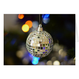 Mirrorball Christmas Bauble Greeting Card