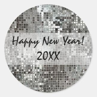 Mirrorball Happy New Year Silver Sticker