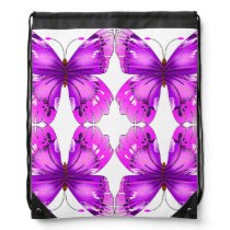 Mirrored Awareness Butterflies Drawstring Bag