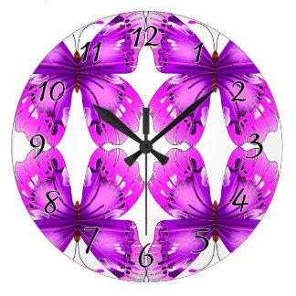 Mirrored Awareness Butterflies Large Clock