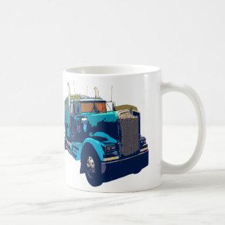 Mirrored Blue Semi Truck Coffee Mug