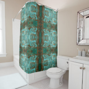 Mirrored Copper Brown And Teal Modern Abstract Shower Curtain