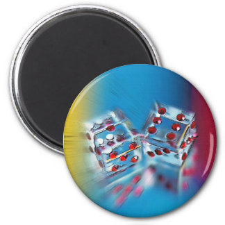 Mirrored Dice 2 Inch Round Magnet