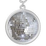 Mirrored Disco Ball Round Pendant Necklace