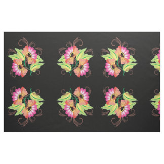 Mirrored Floral Design Fabric