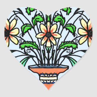Mirrored flowers and vase heart sticker