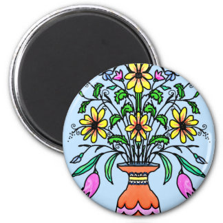 Mirrored flowers and vase magnet