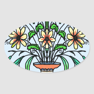 Mirrored flowers and vase oval sticker