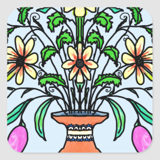 Mirrored flowers and vase square sticker