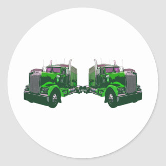 Mirrored Green Semi Truck Classic Round Sticker
