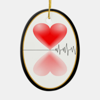 Mirrored Hearts with Heartbeat 2-SIDED Ceramic Ornament