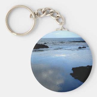 Mirrored Basic Round Button Keychain
