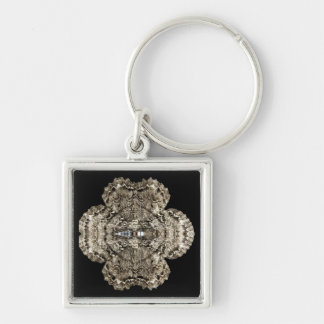 Mirrored Moth Silver-Colored Square Keychain