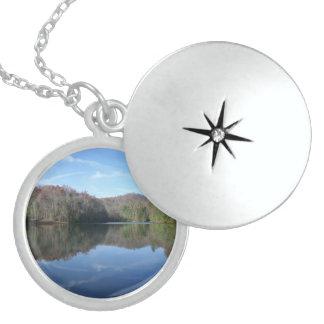 Mirrored Mountain Lake Locket Necklace