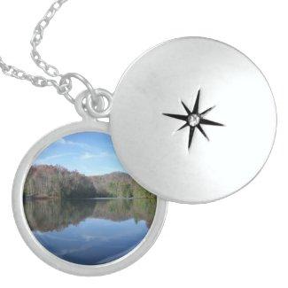 Mirrored Mountain Lake Round Locket Necklace