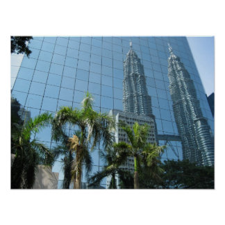 Mirrored Petronas Towers Poster