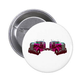 Mirrored Pink Semi Truck Pin