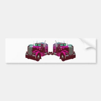 Mirrored Pink Semi Truck Car Bumper Sticker