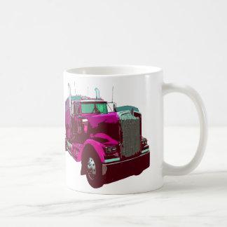 Mirrored Pink Semi Truck Coffee Mug