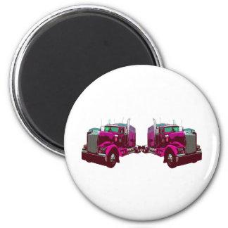 Mirrored Pink Semi Truck Magnet