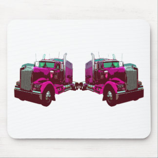 Mirrored Pink Semi Truck Mouse Pad