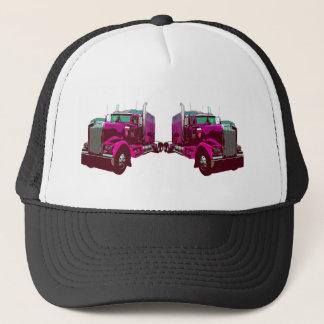 Mirrored Pink Semi Truck Trucker Hat