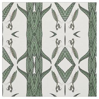 Mirrored Praying Mantis On Green Leaves Fabric