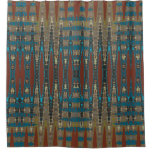 Mirrored South Western Rust Turquoise Mosaic Shower Curtain