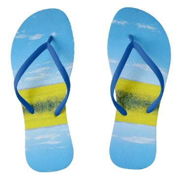 Beach Themed Mirrored Yellow Flowers Flip Flops