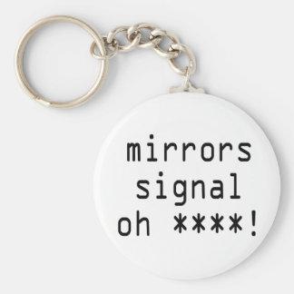 mirrors signal oh ****! basic round button keychain