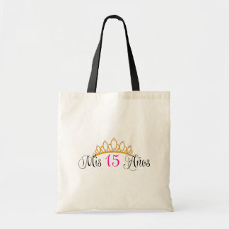Mis 15 Anos Quinceanera Gold Tiara Pink Tote Bag
