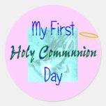 Mis 1ras camisetas del día de la comunión santa pegatina redonda