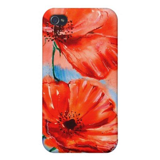 Mis amapolas en la floración iPhone 4 fundas