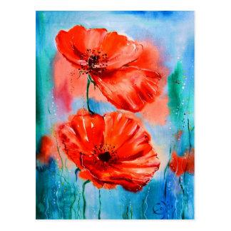 Mis amapolas en la floración tarjetas postales