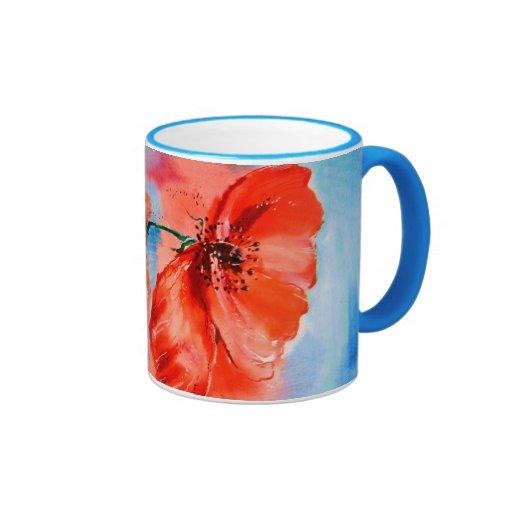 Mis amapolas en la floración taza de café
