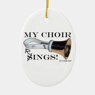 Mis anillos del coro adorno navideño ovalado de cerámica