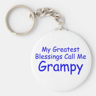 Mis bendiciones más grandes me llaman Grampy Llavero Redondo Tipo Pin