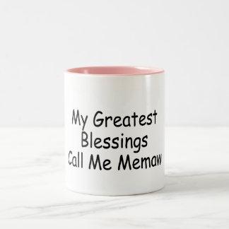 Mis bendiciones más grandes me llaman Memaw Tazas