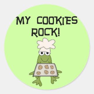 Mis camisetas y regalos de la roca de las galletas pegatina redonda