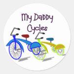 Mis ciclos del papá--Niños Biking las camisetas Pegatina Redonda