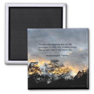 Mis citas de Tagore del cielo de la puesta del sol Imán De Nevera