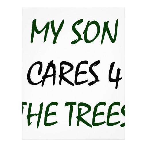 Mis cuidados del hijo para los árboles membrete a diseño
