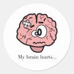 Mis daños del cerebro pegatina redonda