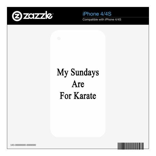 Mis domingos están para el karate iPhone 4S calcomanía